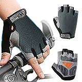 Inroserm Guantes de Ciclismo MTB Transpirable Antideslizante Absorción de Golpes Guantes Bicicleta Medio Dedo para Hombres Mujeres (Gris, L)
