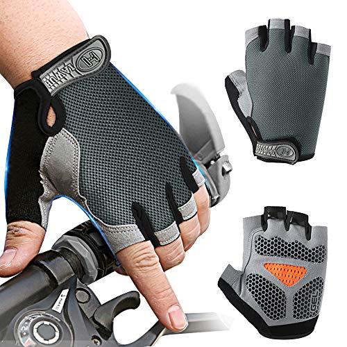 Inroserm Guantes de Ciclismo MTB Transpirable Antideslizante Absorción de Golpes Guantes Bicicleta Medio Dedo para Hombres Mujeres (M)