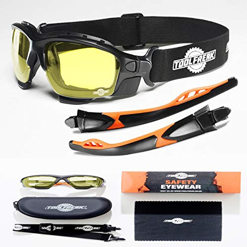 ToolFreak Spoggles Gafas de Seguridad para Trabajo y Deporte, Cristales HD Amarillos, Protección contra Rayos UV e Impactos, Acolchado de Espuma, Correa, Estuche y Tela