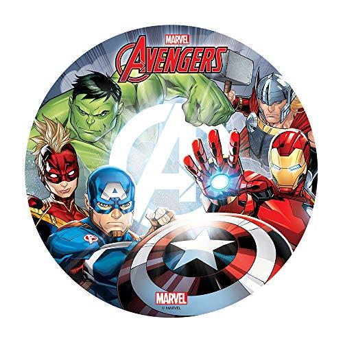 Dekora - Decoracion Tartas de Cumpleaños Infantiles en Disco de Oblea de The Avengers - 20 cm