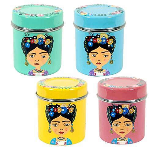 Decor And Go Caja 4 Colores Frida Acero Inoxidable Incluye 4 Unidades Cocina Mugs Y Vasos Colección India
