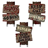 "Beware Signs Yard Stakes, 3 Ct., Brown, 12"" x 9"""
