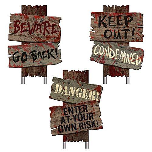 Beware Signs Yard Stakes, 3 Ct., Brown, 12″ x 9″