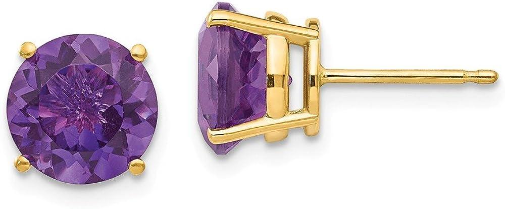 14k Yellow Gold 8mm Purple Amethyst Post Stud Earrings Birthstone February Gemstone Fine Jewelry For Women Gifts For Her