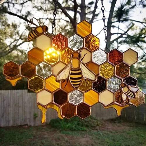 Yueser Queen & Bee Protect Honig Suncatcher Bienensonnenfänger Hummel Waben Bee Protect Honig Sonnenfänger Bienendekor für Indoor Home Outdoor Garten Dekoration