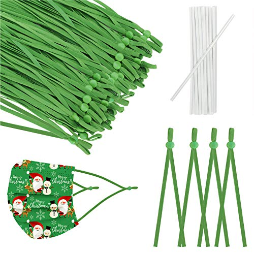 50 Pcs Elastic String 1/4 inch Adjustable Buckle Sewing Elastic Band(Length :About 7.5inch), for Hand Sewing DIY mas-k, Suitable for Adults and Children (Green, 50pcs)