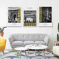 北欧のポスターブラックホワイトシティランドスケープキャンバスプリント壁アート絵画装飾写真リビングルームモダンな家の装飾50x70cmx3フレームなし