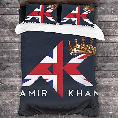 "BLACK SP Amir Khan 3-Piece Bedding Set 86"""" X70 Comforter Quilt Set Twin Size Soft Duvet Cover Set with 1 Quilt Cover 2 Pillow Shams for Teens Men Women"