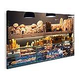 Bild auf Leinwand Moderne Bäckerei mit verschiedenen Brot- Kuchen- und Brötchensorten Bilder Wandbild Poster Leinwandbild GBWF