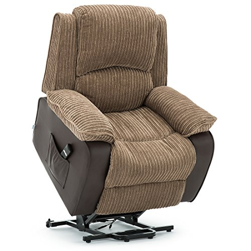 More4Homes POSTANA JUMBO CORD FABRIC RISE RECLINER ARMCHAIR ELECTRIC LIFT RISER CHAIR (Brown)