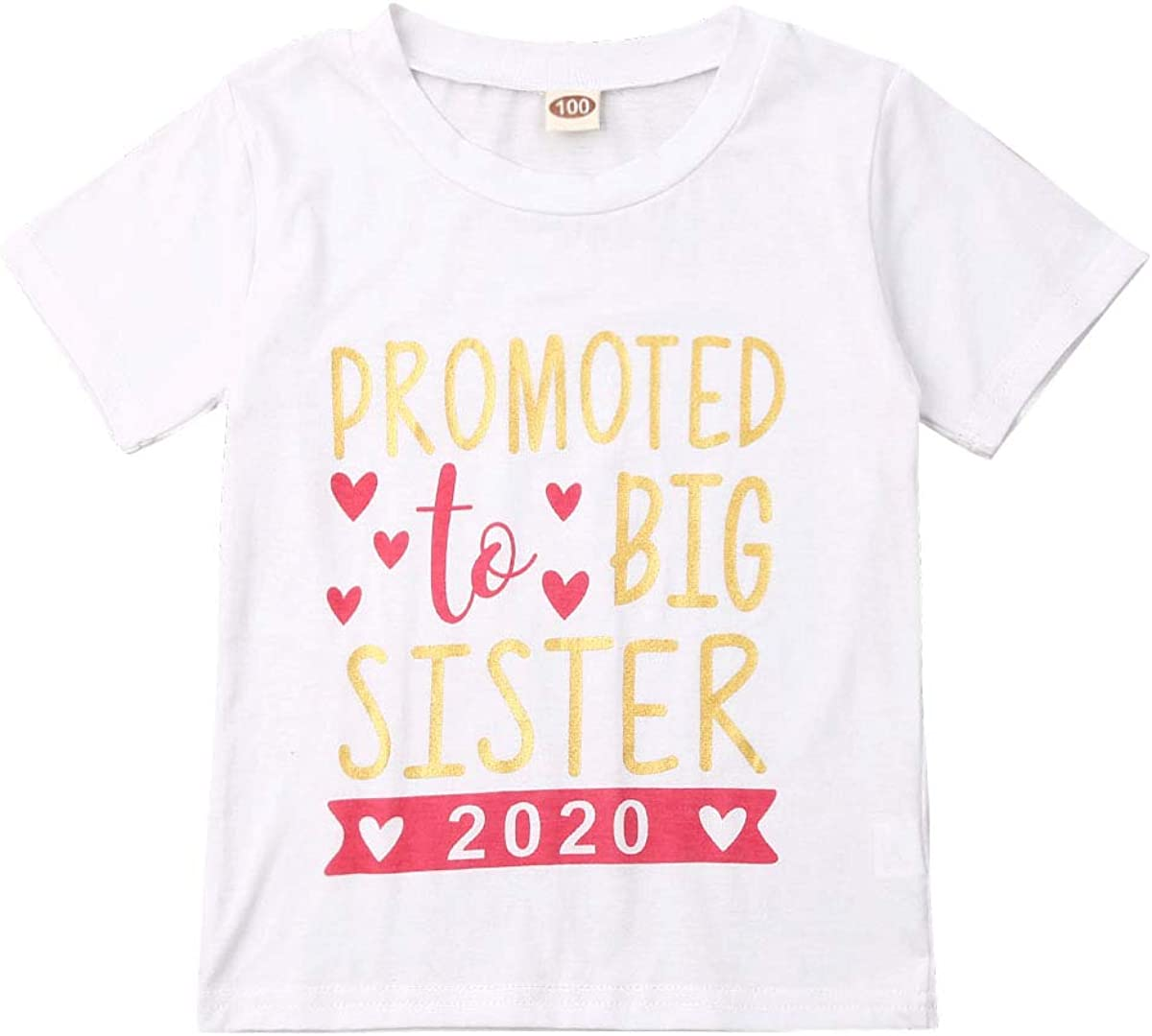 Infant Baby Girl T-Shirt Promoted to Big Sister 2020 Short Sleeve Tee Tops Clothes
