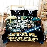SSIN Star Wars - Juego de ropa de cama (funda nórdica y dos fundas de almohada, 100% microfibra, impresión digital, 3 piezas, para jóvenes, niñas, adolescentes, hombres (C09, 140 x 210 cm)