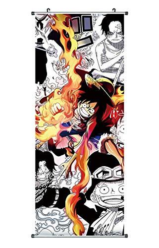Großes One Piece Rollbild/Kakemono aus Stoff Poster, 100x40cm, Motiv: Gum Gum Red Hawk