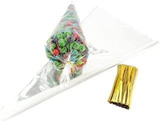 JZK 100 Clear Cone Sweet Bags with Ties cellophane Party Treat Bags for Sweets Snacks Confetti for Wedding Birthday Christ...