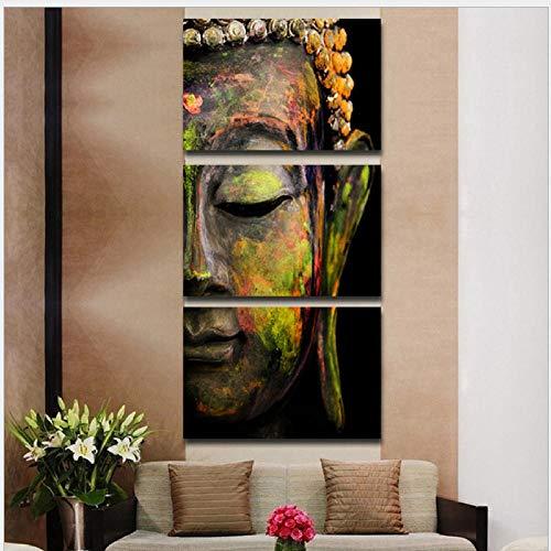Cuadro En Lienzo Arte De La Pared Estatua De Buda Abstracta Religiosa Pintura Decorativa Moderna Tríptico 3 Piezas Decoración para El Hogar Sala De Estar Dormitorio Oficina Mural Regalo