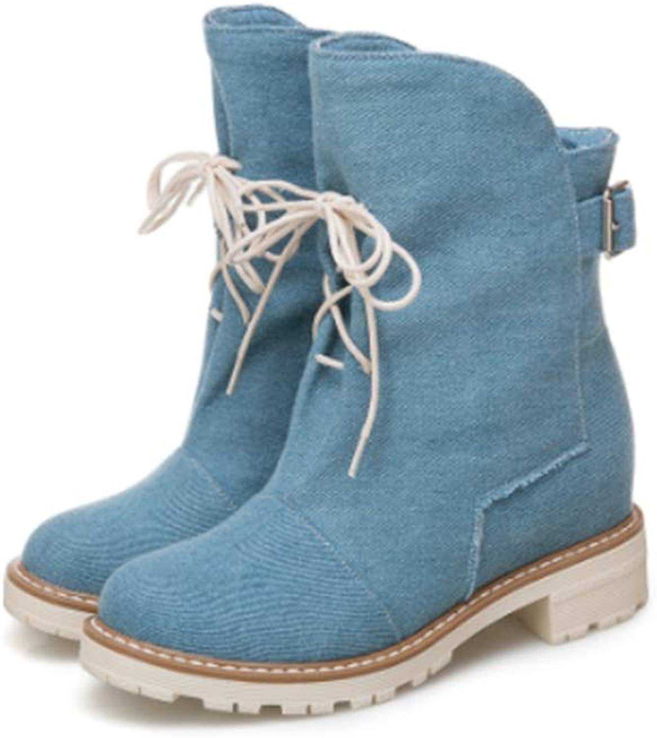 LVYING Women Winter Warm Mid Calf Boots Denim Upper Buckle Strap Cross-Tied Square Heel Round Toe Short Booties