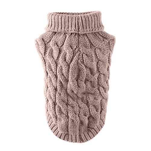 Wallfire - Suéter de cuello alto para perros con cuello alto para invierno, más cálido para el invierno, ropa de ganchillo