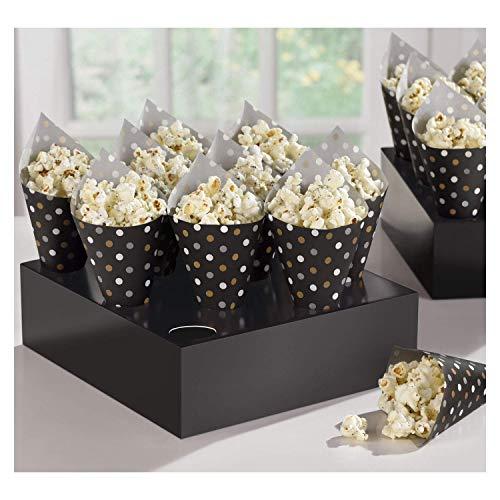 CAPRILO. Lote de 40 Conos de Papel+2 Bases(20 cm) para Palomitas. Decoración para Fiestas de Cumpleaños, Bodas, Bautizos y Comuniones.