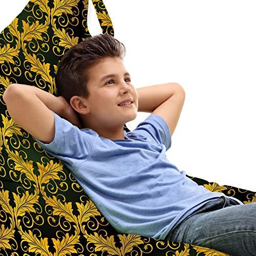 ABAKUHAUS damasco amarillo Bolsa para Juguetes Tipo Tumbona, Hojas de la forma de onda, Organizador de Peluches Gran Capacidad con Manija, Oscuro Verde Amarillo