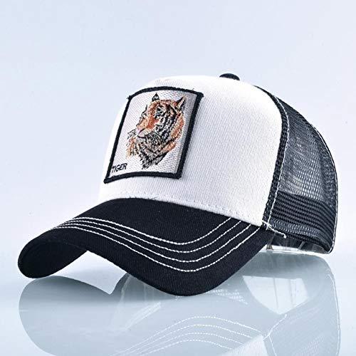 Gorras de bisbol de Moda Hombres Mujeres Snapback Hip Hop Sombrero Verano Malla Transpirable Sun Gorras Unisex Streetwear-White Tiger