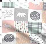 Patchwork, Wald, Elch, Zelten, Girly, Wholecloth Stoffe -