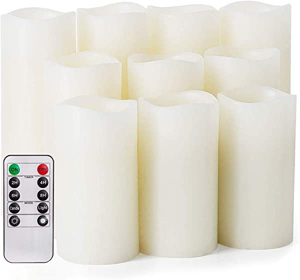 Flameless Candles Salipt LED Flickering Candles Set Of 10 H 4 5 6 XD 2 2 Ivory Real Wax Battery Operated Candles With Remote Timer Batteries Not Included