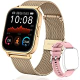 OUTUVAS Smart Watch for Android Phones and iOS Phones,IP67 Swimming Waterproof Smart Watch Fitness, Heart Rate and Sleep Monitor, Activity Tracker with 8 Sports Modes for MenandWomen (Gold)