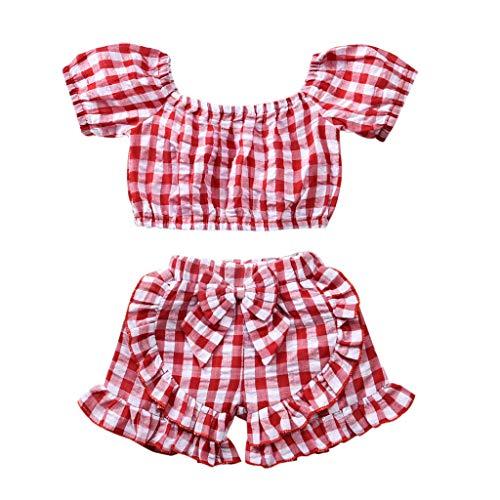 Moneycom❤Toddler Kids Baby Girls Off épaule Plaid T Shirt Tops Shorts Vêtements Tenues Rouge(6-12 Mois)