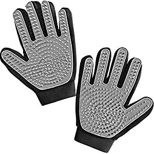 Gorilla Grip Pet Grooming Gloves, 262 Soft Grooming Nubs to Brush Pets, Hair Removal Mitts Remove Cat and Dog Shedding Loose Fur, Easy Clean, for Massaging, Bathing, and Petting Dogs, Cats, Gray Pair