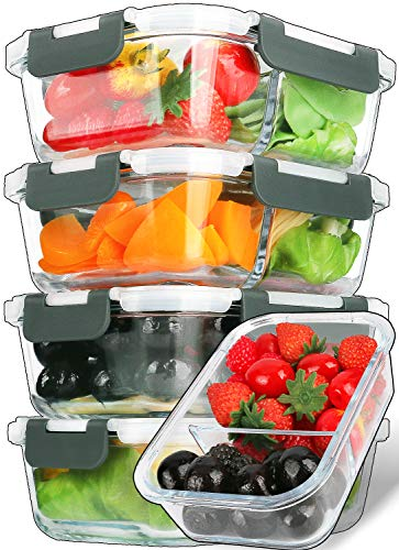 5Pack29 OzGlass Meal Prep Containers 2 Compartments Portion Control with Upgraded Snap Locking Lids Glass Food Storage Containers BPAFree Microwave Oven Freezer and Dishwasher
