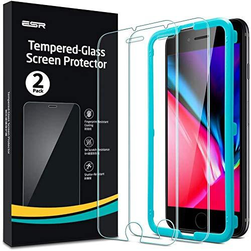 ESR Panzerglas Bildschirm Schutzfolie [2er Pack] für iPhone 8/7/6s/6 [Praktischer Montagerahmen] [Hüllenfre&lich] Premium Panzerglas Schutzfolie für iPhone 8/7/6s/6