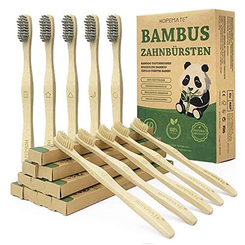 Cepillo Dientes Bambu Paquete de 10, Cepillos Dientes de Fibra Bambú y Carbón Bambú 5 Cada Uno, con Signos Diferentes, Naturales y Veganos para Mejor Limpieza, Embalaje Reciclable, 100% Libre de BPA