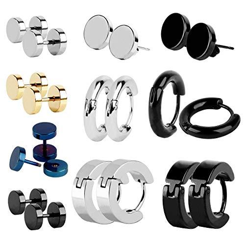 10 Pairs Stud Earrings Stainless Steel Men's Small Hoop Black Earrings Ear Piercing Screw Jewelry Barbell Studs Male Female Unisex Earrings Studs Hoop Ear Plugs Huggie Stud Earrings