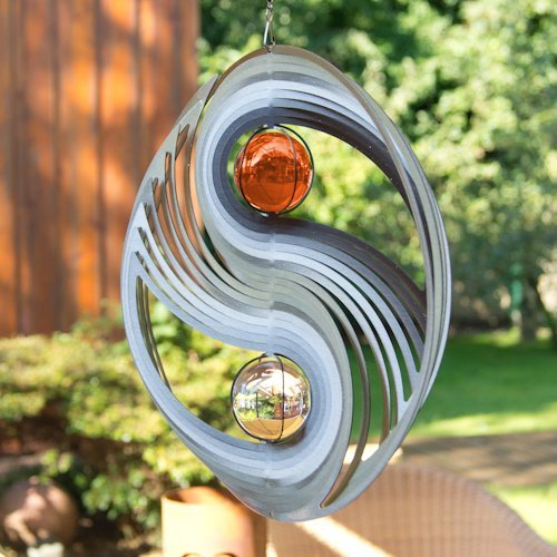 Edelstahl Windspiel – ORBIT YINYANG 300 – Ø300mm – Kugeln: 2xØ50mm – inklusiv Kugellagerwirbel, Haken und 1m Nylonschnur - 2