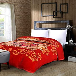 Bombay Dyeing Polyester 500 TC Blanket (Double_Red)