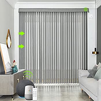 Yoolax Motorized Vertical Blinds Works with Alexa Light Filtering Remote Control Window Blind Custom Size Privacy Light Control Slats Blackout Electric Blinds for Smart Home Office  Smoky Grey