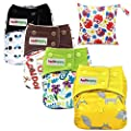 Asenappy aio Cloth Diapers one Size - All in One Shell-Snap Cloth Pocket Diapers with Built-in Inserts 4 pcs Diaper+1 Bag(BOY New)