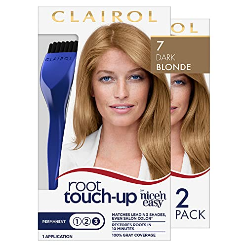 root touch ups Clairol Root Touch-Up by Nice'n Easy Permanent Hair Dye, 7 Dark Blonde Hair Color, 2 Count