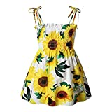 Toddler Baby Girl Floral Dresses Kids Sleeveless Strap Elastic Top Flower Party One Piece Dress Skirt Summer Outfits (Sunflower, 3-4T)