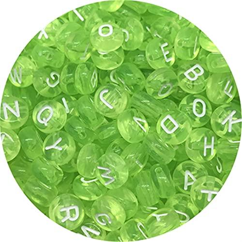 Cuentas sueltas, 300 unids 6mm 7 mm cuadrado óvalo mezclado letras de acrílico perlas sueltas espaciador de cuentas para joyería que hace bricolaje collar de pulsera hecho a mano para hacer joyas DIY