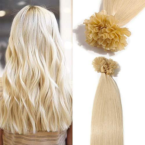 TESS Bonding Extensions Echthaar 1g 100% Remy Haarverlängerung 50 Strähnen Keratin Human Hair Extensions 50g/50cm(#60 Weißblond)