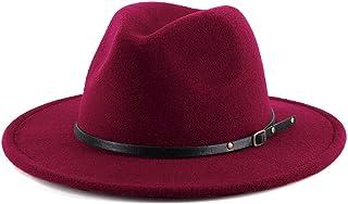 PORSYOND Mens Vintage Fedora Hat Cap with Thin Belt Buckle Wide Brim Felt Jazz Hat Panama Hat for Men