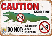 ワニに餌を与えないでください メタルポスタレトロなポスタ安全標識壁パネル ティンサイン注意看板壁掛けプレート警告サイン絵図ショップ食料品ショッピングモールパーキングバークラブカフェレストラントイレ公共の場ギフト