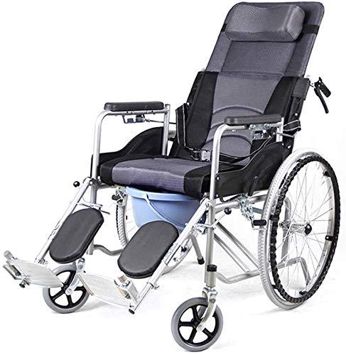 Asiento para ducha Baño Sillas de ruedas reclinable silla de ruedas, respaldo alto Silla Cómoda de la cabecera Aseo, mecánica varilla 6 Ajuste de la velocidad del respaldo, for la tercera edad, ancian