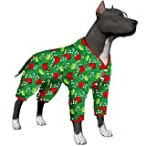 LovinPet Large Dog Clothing/Dog Pullover/Light Weight Dog Shirt/Very Merry Fun Cardinal Green Prints/Post Surgery Shirt/UV Protection, Pet Anxiety Relief, Wound Care for Large Dog Onesies