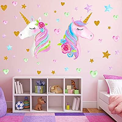 2 Sheets Large Size Unicorn Wall Decor,Removable Unicorn Wall Decals Stickers Decor for Gilrs Kids Bedroom Nursery Birthday Party Favor?Neasyth Store 9.99 $? (2 PCS)