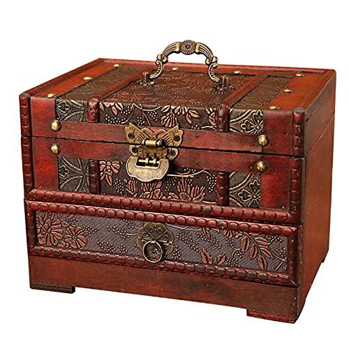 Organizador De Maquillaje Caja De Madera, Estratificación Gran Capacidad Make Up Storage Caja, Caja De Almacenamiento con Cajones Espejo Cerrar con Llave for Tocador Dormitorio