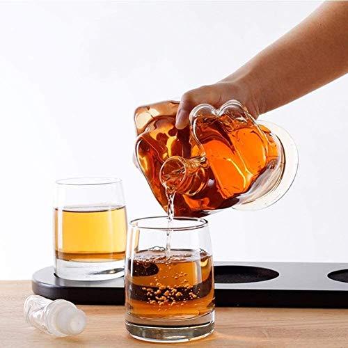 ZSWB Conjuntos de Accesorios de Vino, Forma de Dedo Medio Reutilizable Forma de Whisky Decanter Set 2 Gafas de Licor Decantadores de Cocina para el hogar, Scotch, Borbón 3.8
