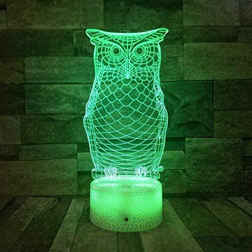 8bayfa Owl dier 3D-nachtlampje 7 kleuren veranderende LED bureau tafellamp Art Home Kids slaapkamer verlichting Bluetooth luidspreker basis