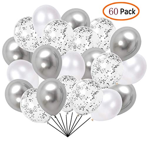 60 Pcs Pack-White, silvery, silvery Confettii Balloons with Ribbon,Set for Father's Day Weddings Birthday Party Decoration,Bridal & Baby Showers Balloons 12 Inch